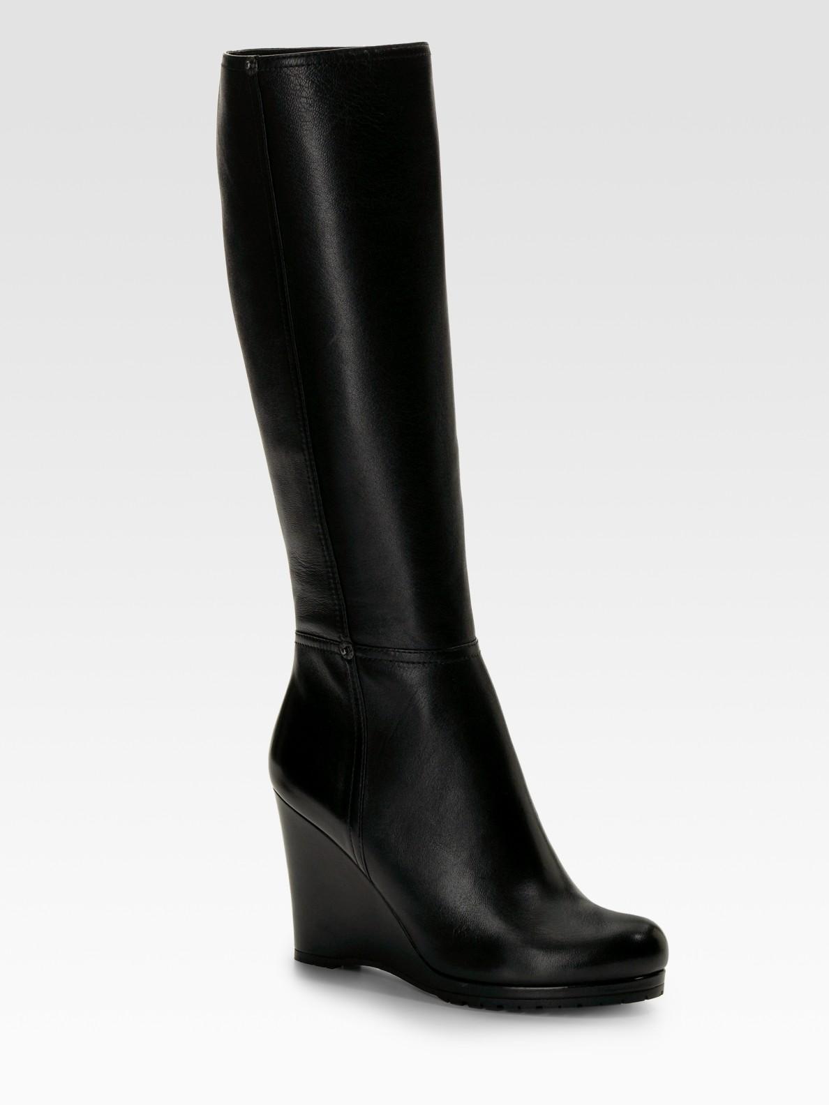 Prada Tall Wedge Boots in Black
