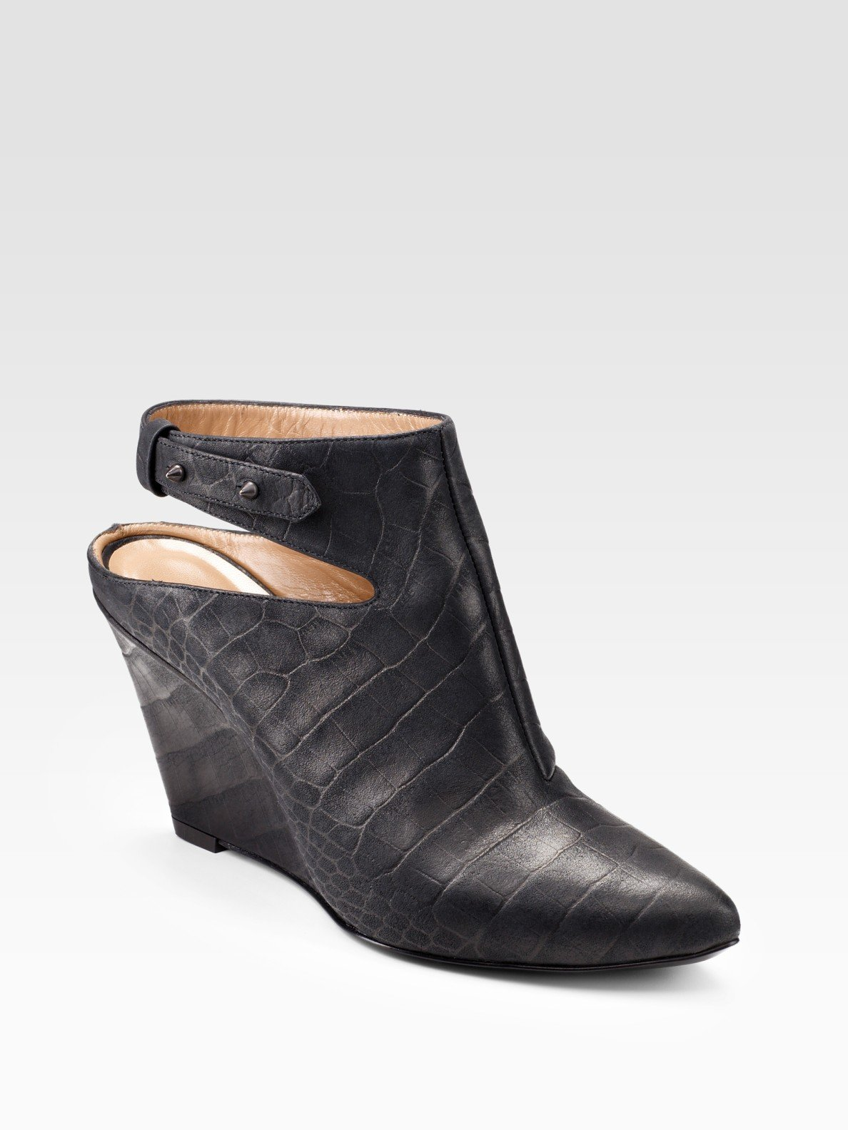 Sigerson Morrison Croc Embossed Leather Wedge Ankle Boots