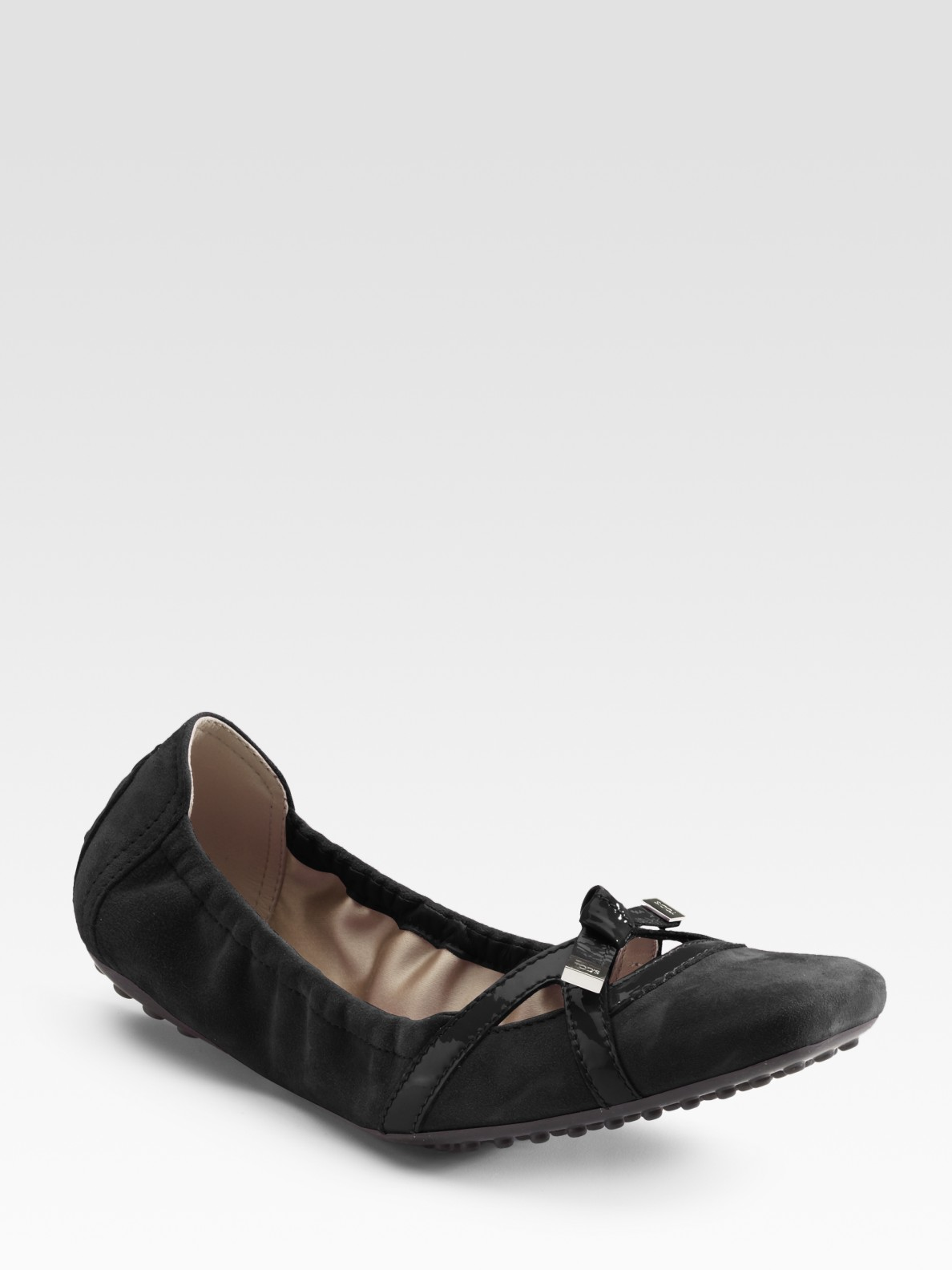 6564104110 Tod's Degas Suede Ballet Flats in Black - Lyst