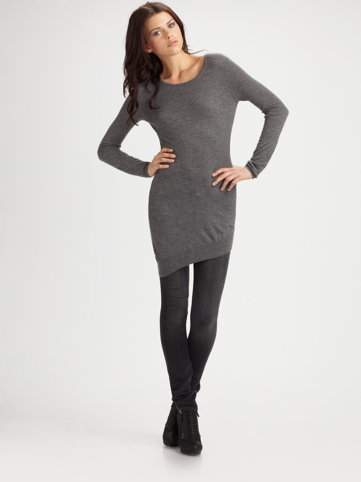 Vince Cashmere Tunic Sweater In Black Gray Lyst