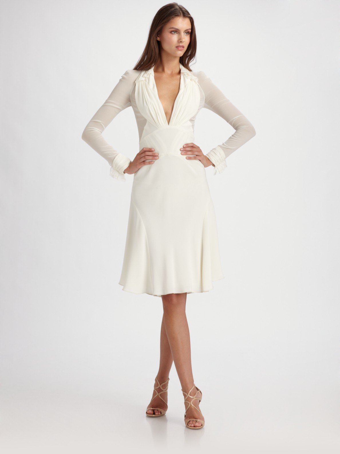 Zac Posen Crepe Amp Chiffon Long Sleeve Dress In Ivory