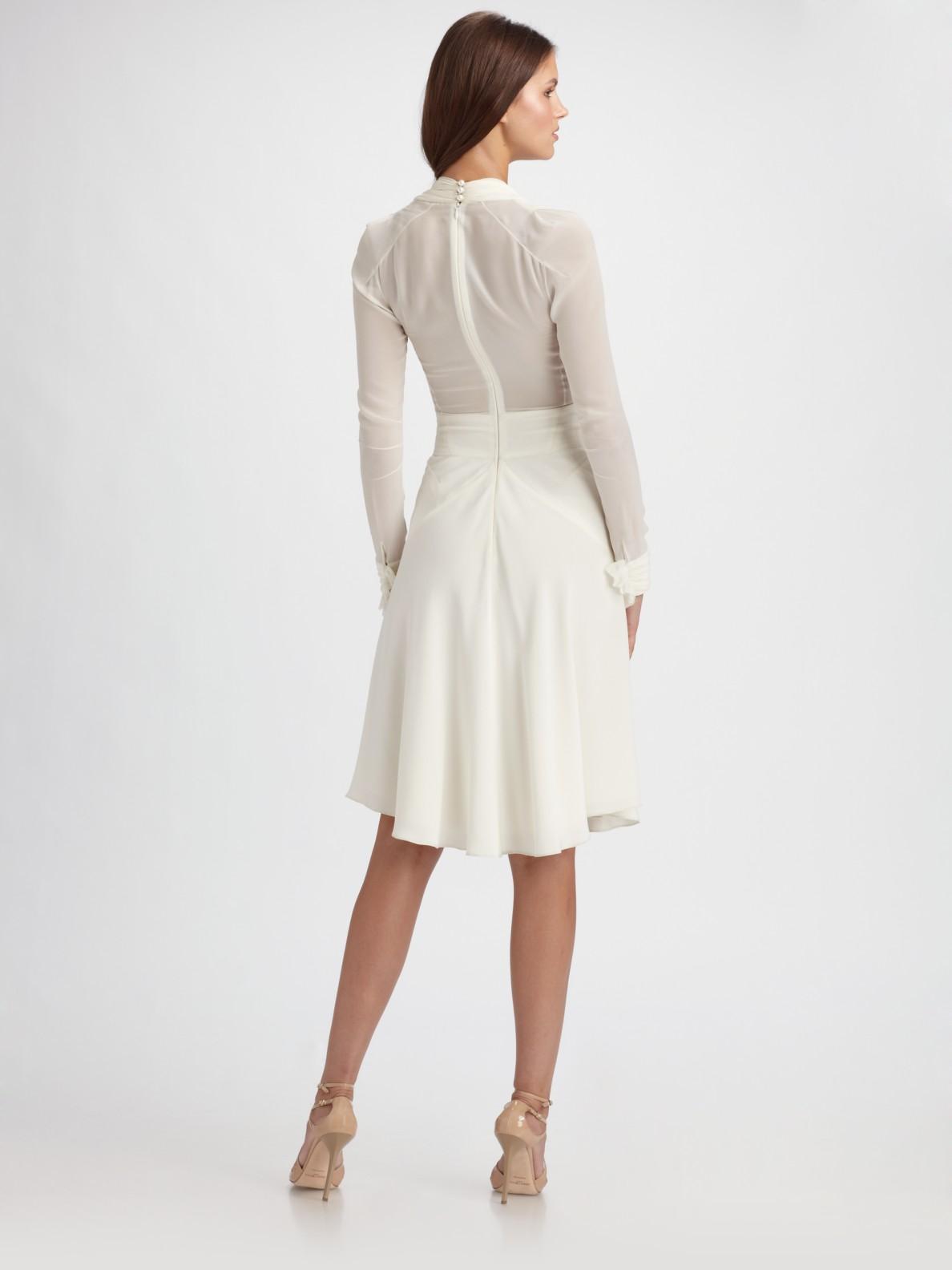 Zac posen Crepe & Chiffon Long Sleeve Dress in White