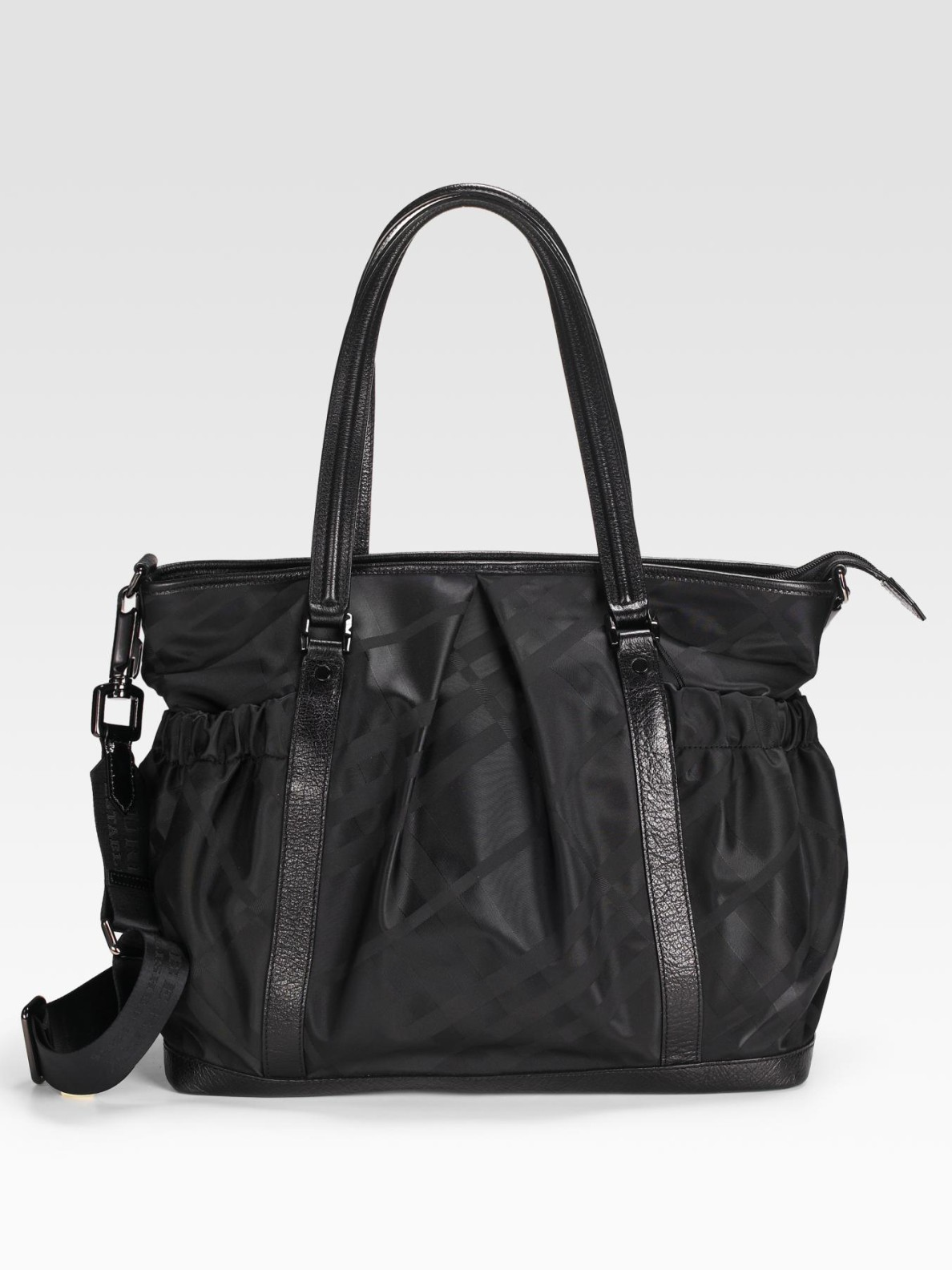 burberry tonal check diaper bag in black lyst. Black Bedroom Furniture Sets. Home Design Ideas
