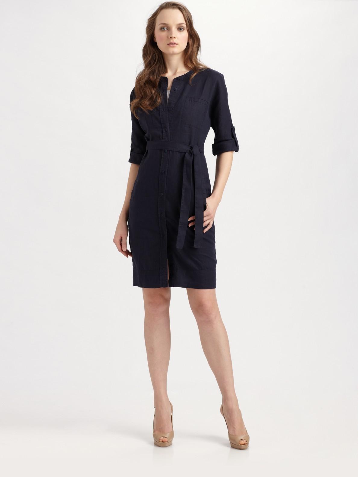 a194d5aed40 Eileen Fisher Organic Linen Shirt Dress in Blue - Lyst