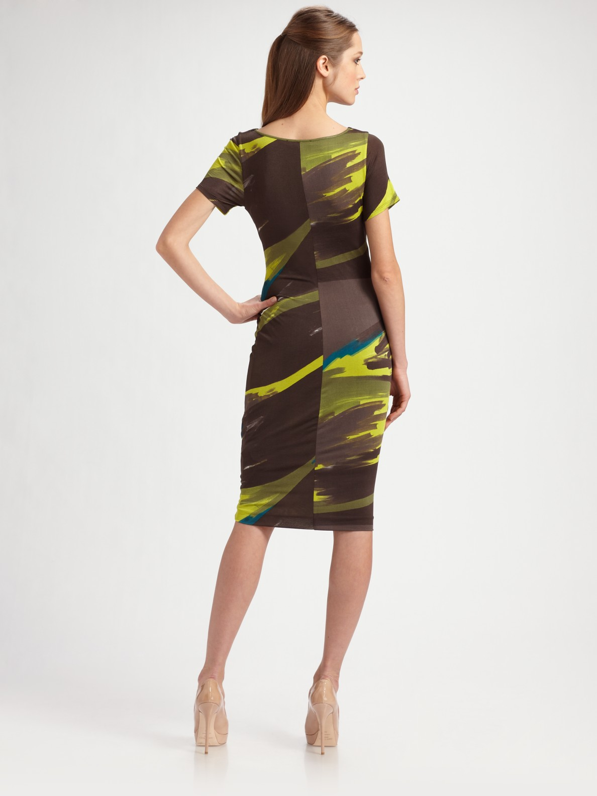 Max Mara Stefy Faux Wrap Jersey Dress In Green Lyst