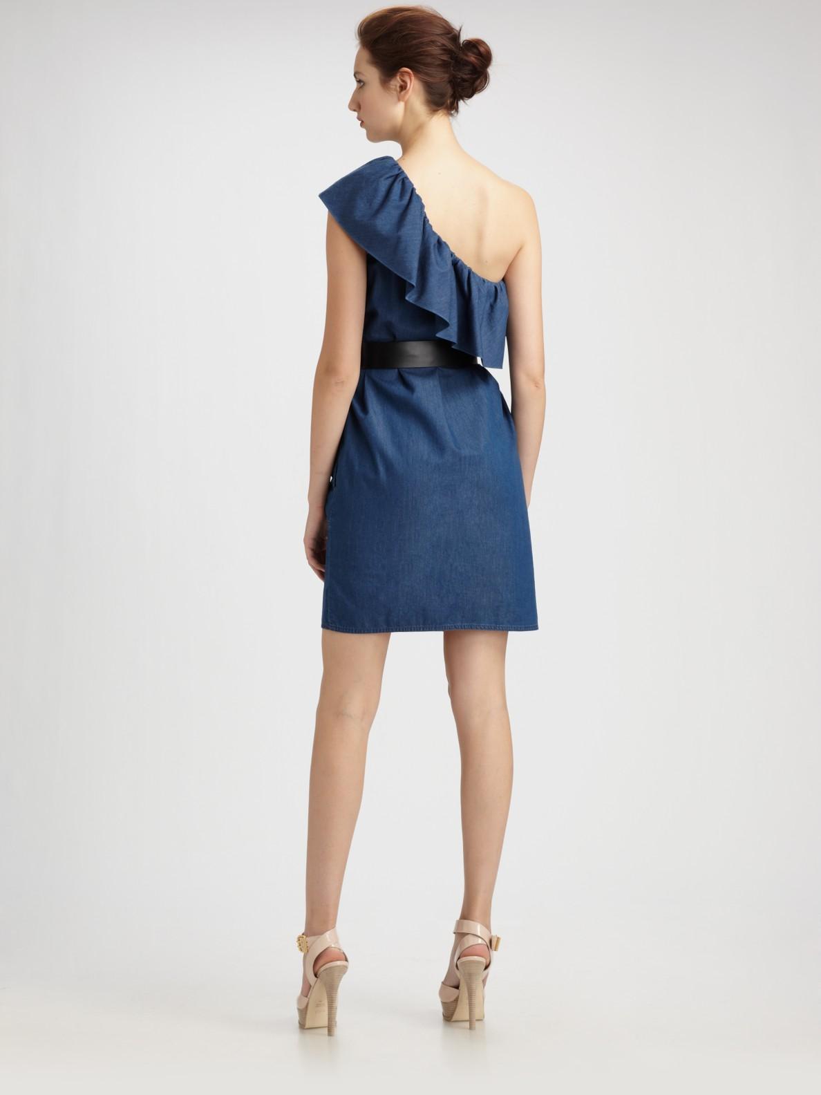 Lyst Boutique Moschino Denim Ruffle One Shoulder Dress