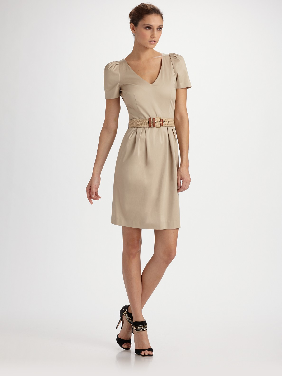 Moschino Cheap Chic Cotton Sateen V Neck Belted Dress In