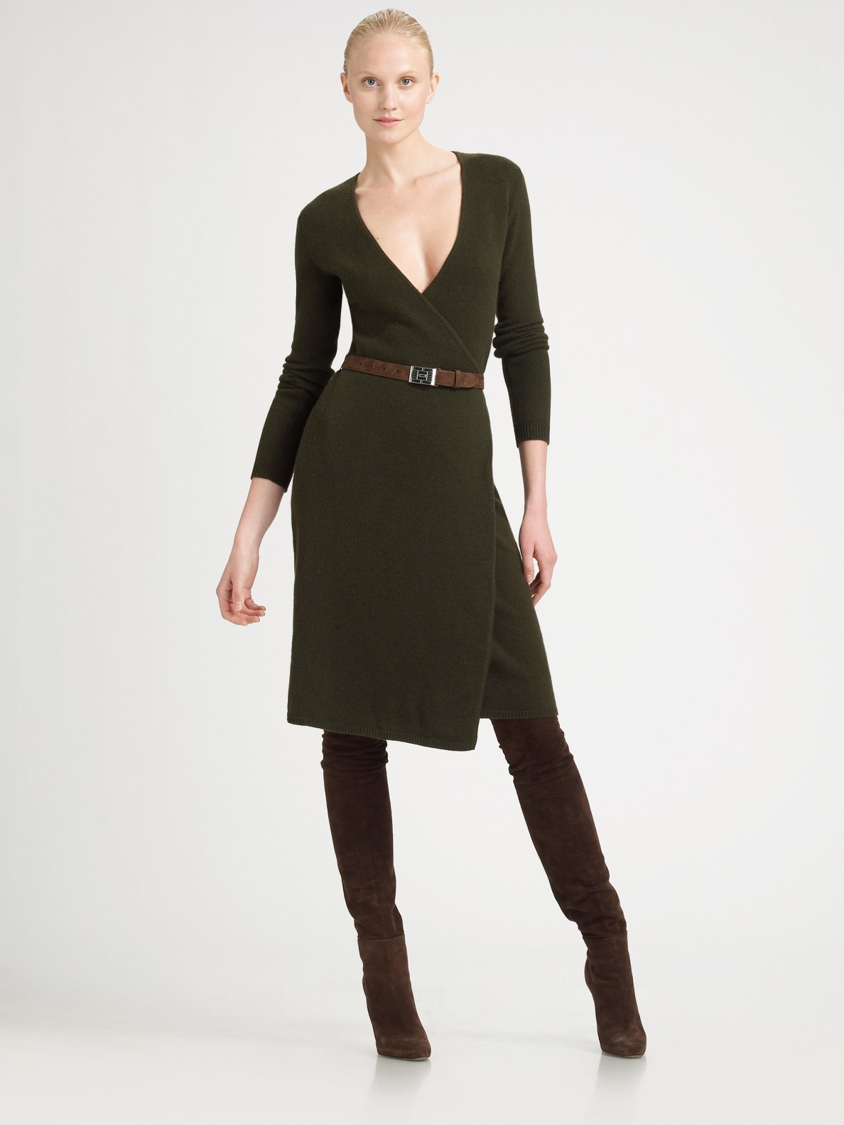 Ralph lauren black label Wrap Sweater Dress in Green | Lyst