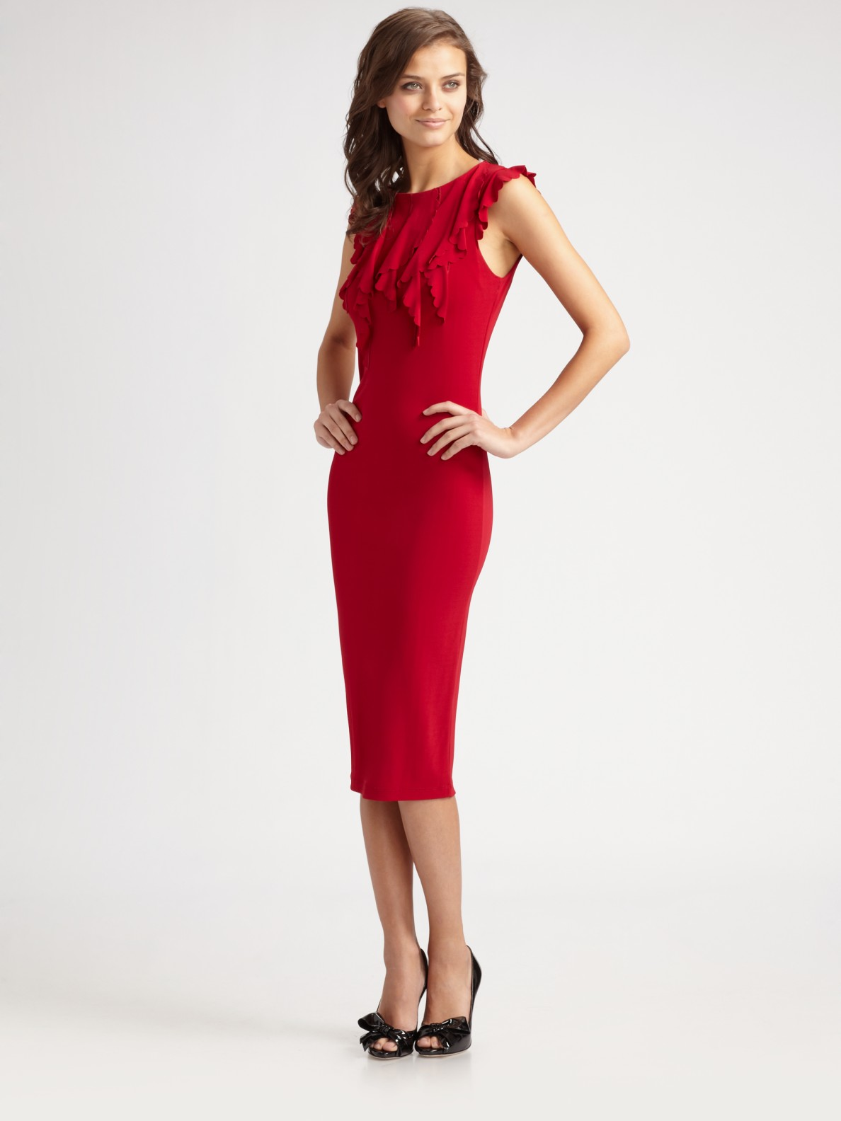 Red valentino Ruffle-top Dress in Red | Lyst