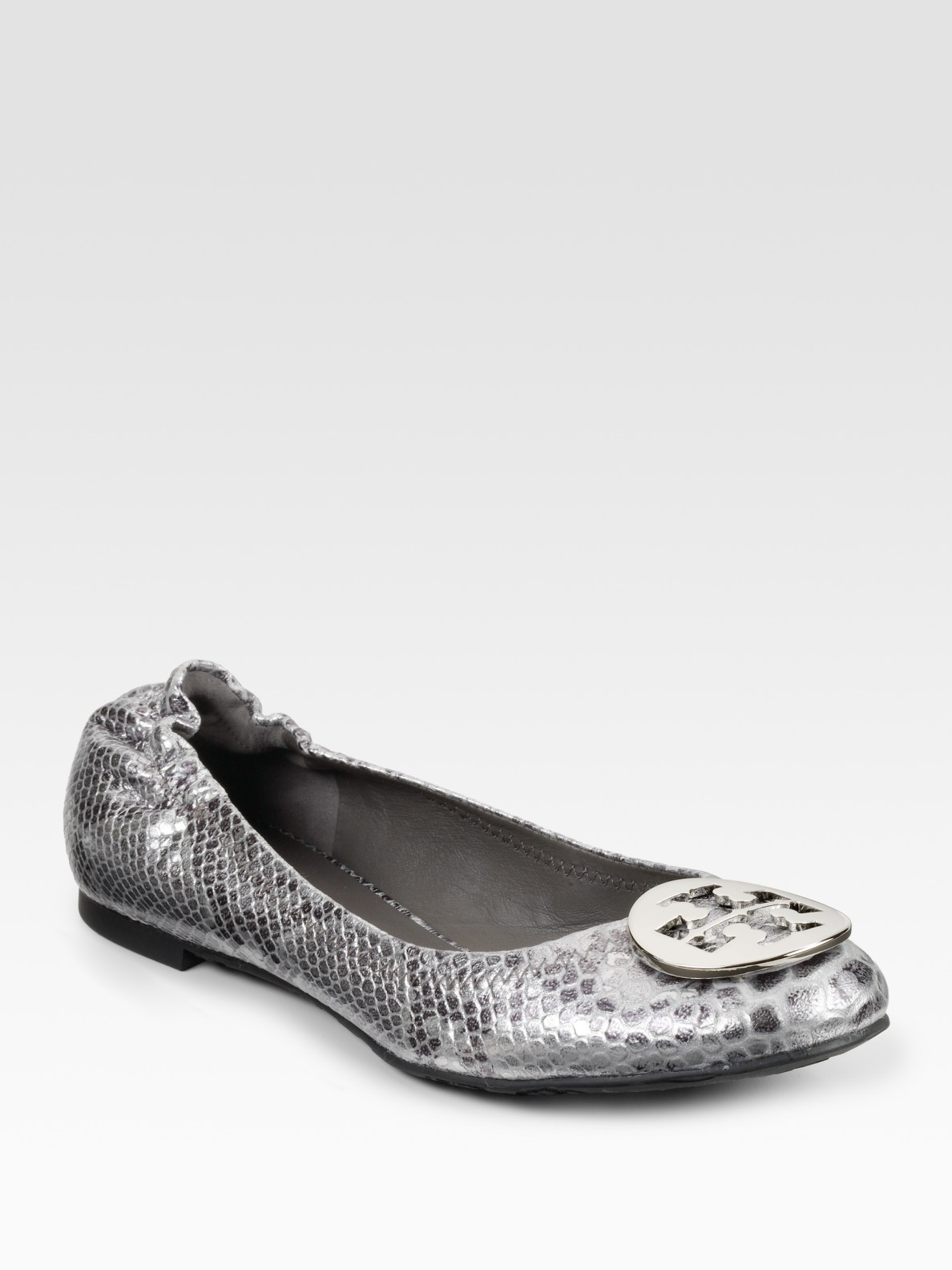 8f3541e9c7a8 Lyst - Tory Burch Reva Snake-embossed Leather Ballet Flats in Metallic