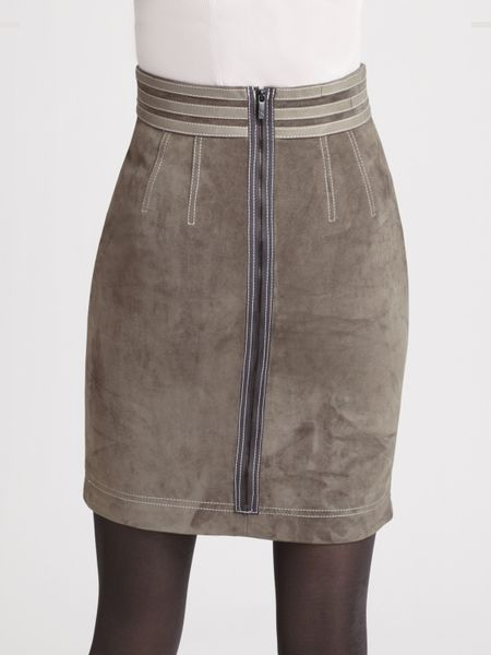 z spoke by zac posen leather trimmed suede pencil skirt in