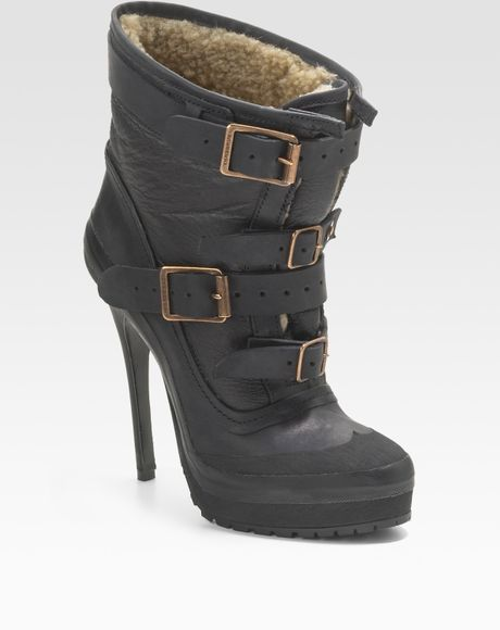 burberry prorsum shearling lined platform ankle boots in