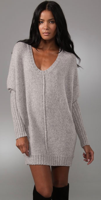 Bcbgmaxazria Oversized Sweater Dress in Gray | Lyst