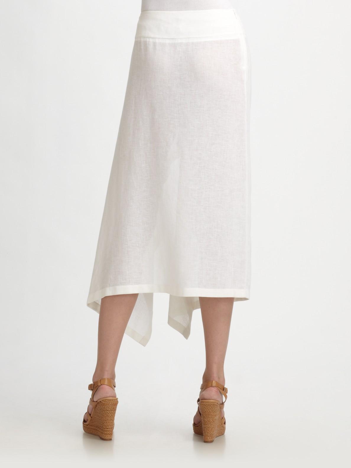 Michael Kors Linen Crepe Sarong Skirt In White Lyst