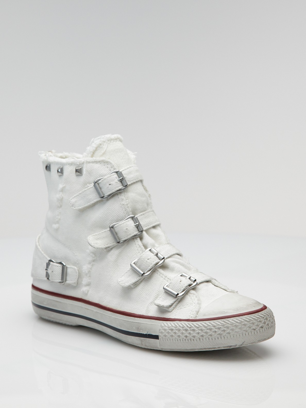 ash four buckle high top canvas sneakers in white lyst