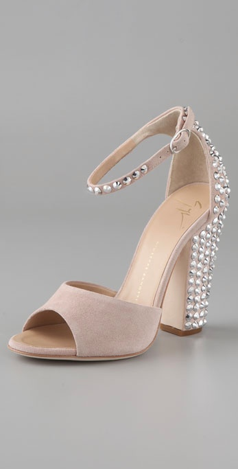 8dd0722ef10fc Lyst - Giuseppe Zanotti Suede Ankle Strap Sandals with Crystals in Pink