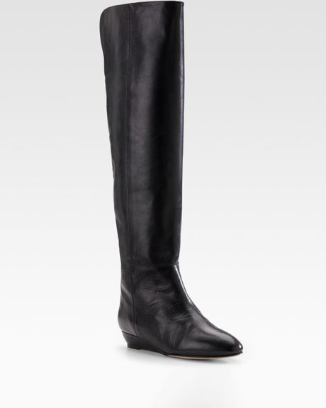 loeffler randall leather wedge boots in black lyst
