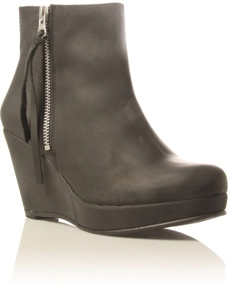 kurt geiger sootie wedge ankle boots in gray lyst