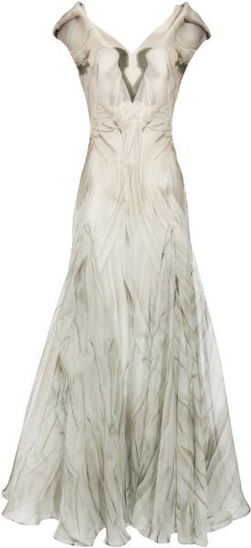 Alexander Mcqueen Gown with Angel Print in White - Lyst