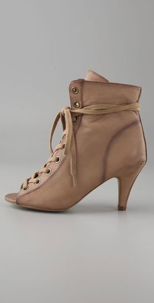 Ash Iggy Open Toe Lace Up Booties In Beige Camel Lyst