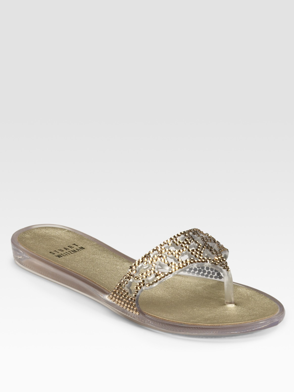 Stuart Weitzman One The Rocks Jeweled Jelly Flat Sandals