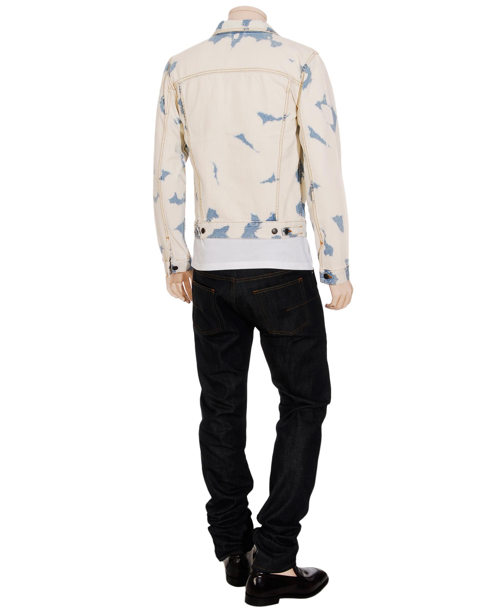Dries Van Noten Bleach Splattered Denim Jacket in Blue for Men