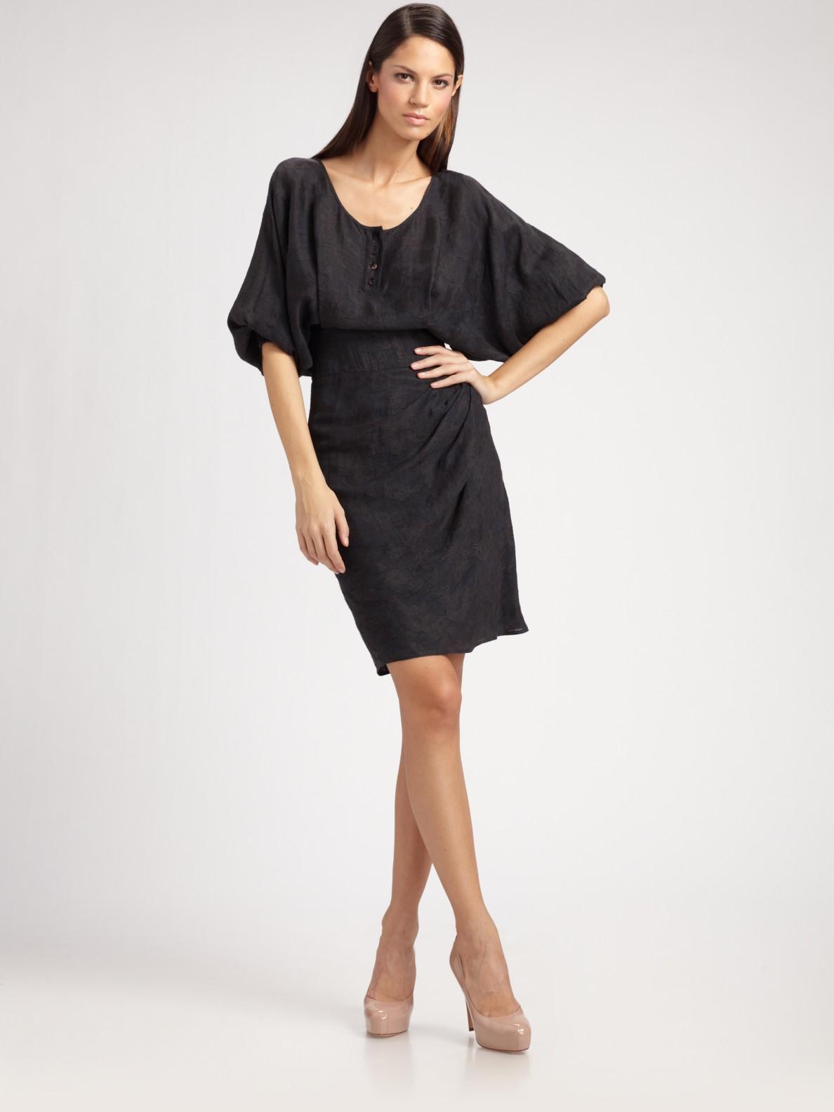 Lyst Sophie Theallet Damask Bat Sleeve Dress In Gray