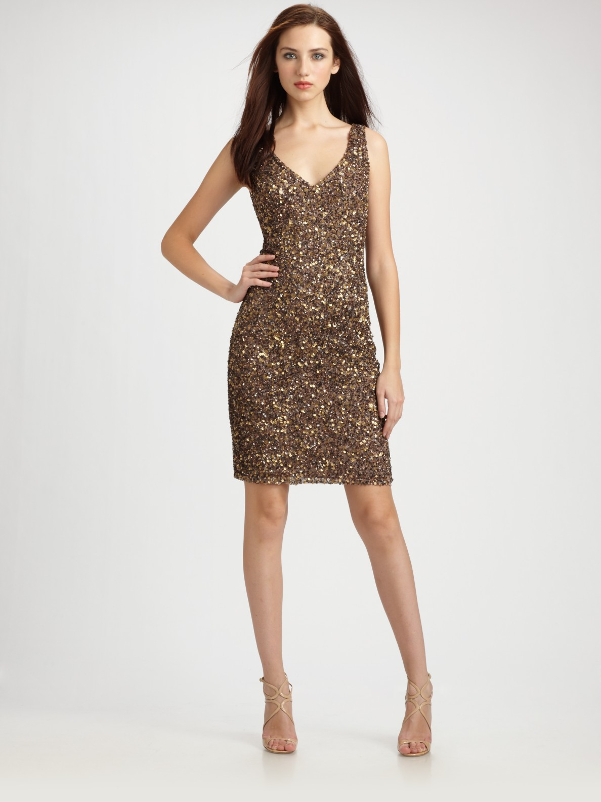 Theia Beaded V-neck Cocktail Dress in Brown | Lyst