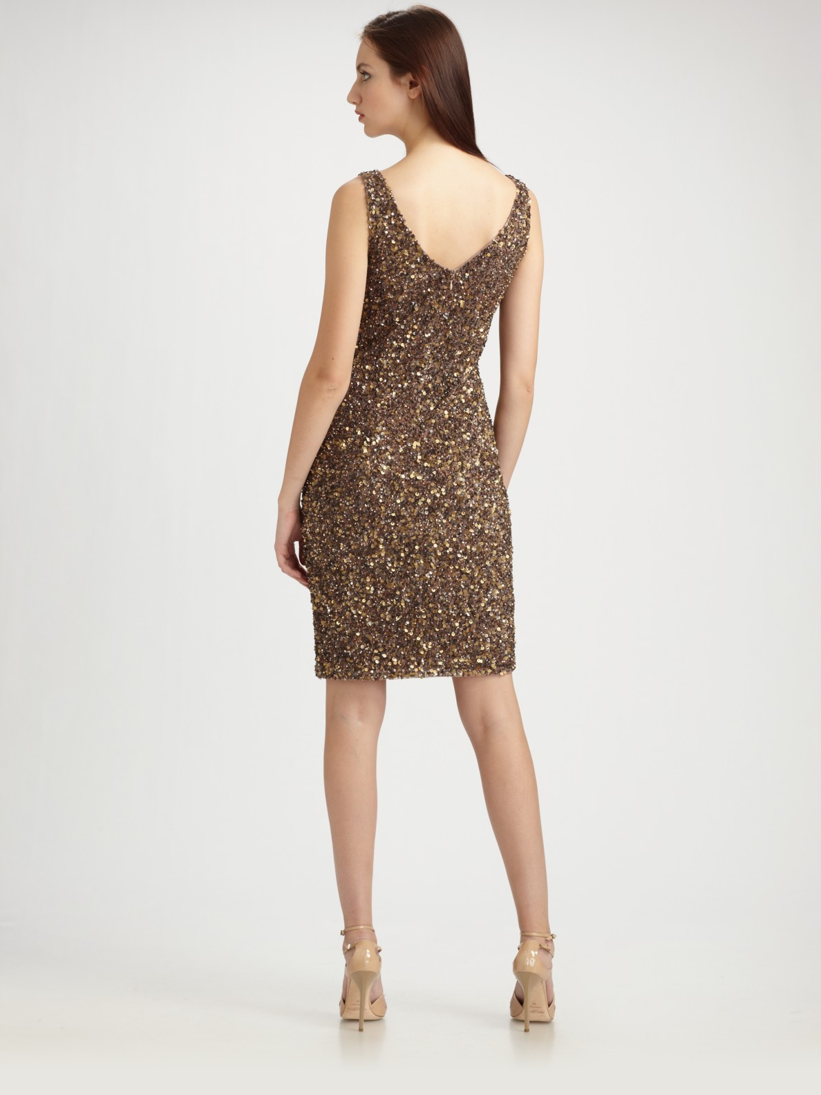 Theia Beaded V Neck Cocktail Dress In Brown Lyst
