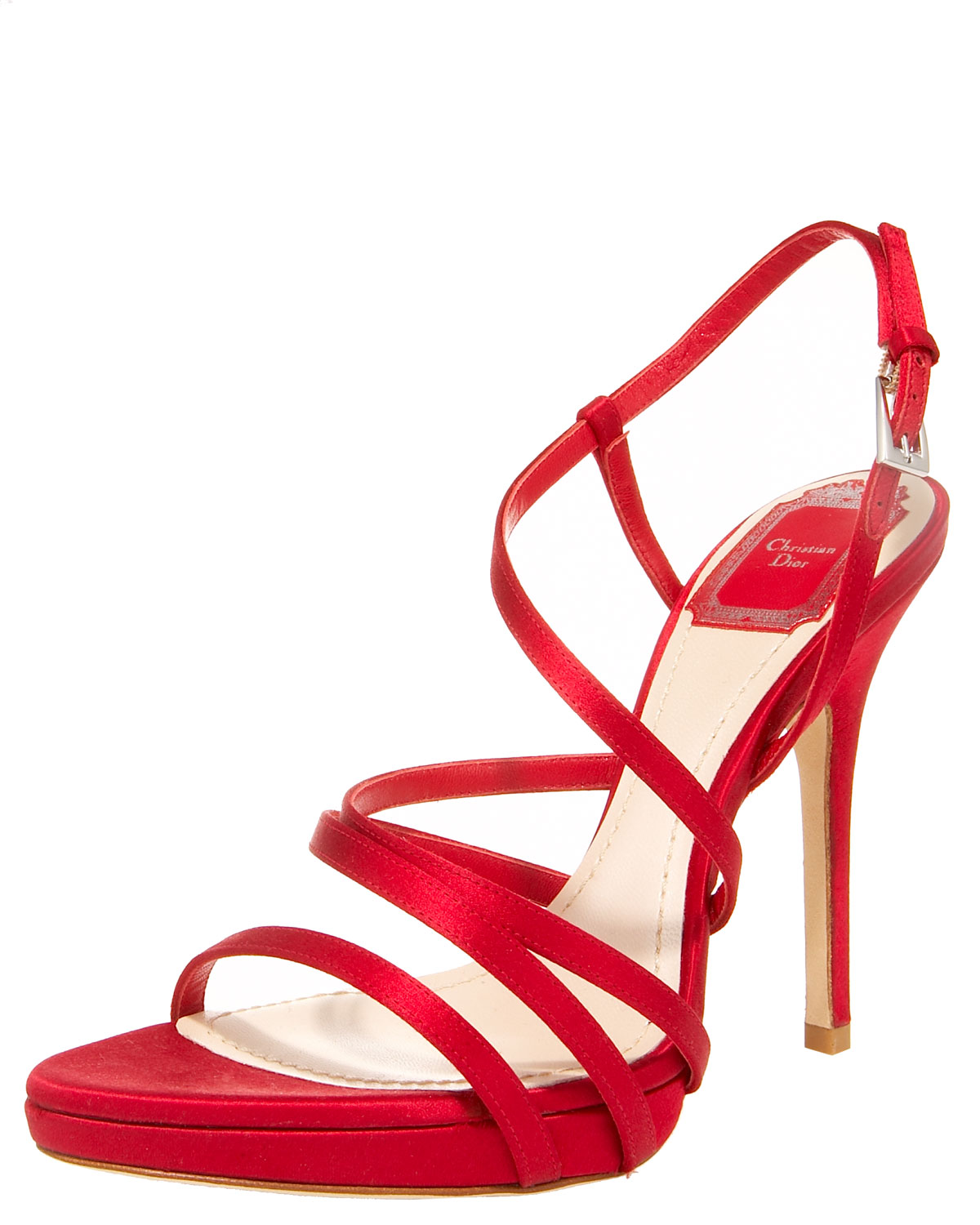 b2bc67a23f3 Lyst - Dior Strappy Satin Sandal in Red