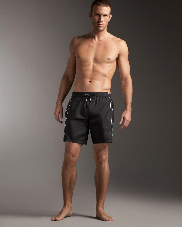 cb0190f772 Dolce & Gabbana Square-cut Swim Trunks in Black for Men - Lyst