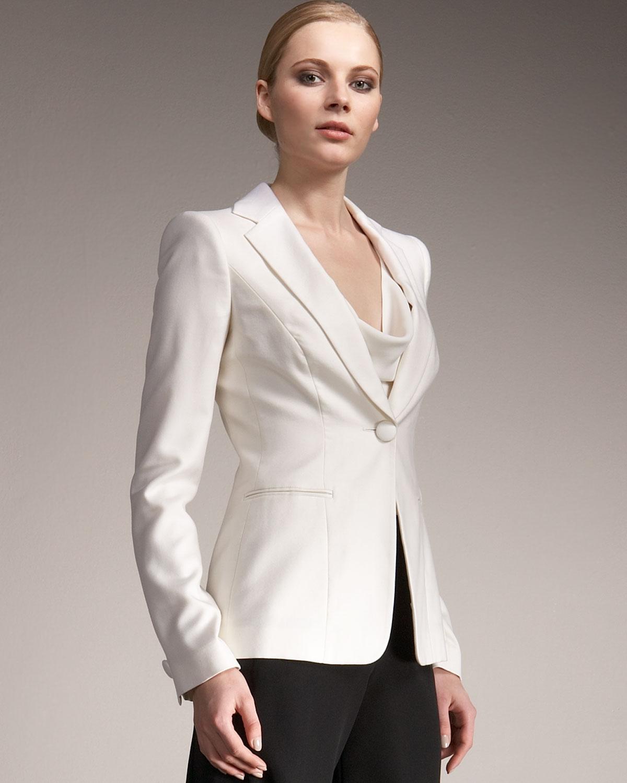 382f5e18 Giorgio Armani White One-button Tuxedo Jacket