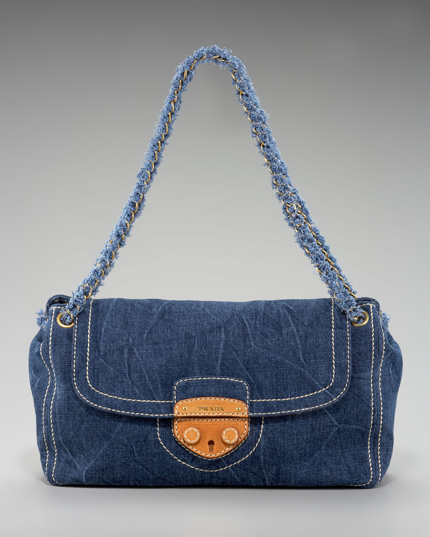 Prada Denim Shoulder Bag in Blue | Lyst