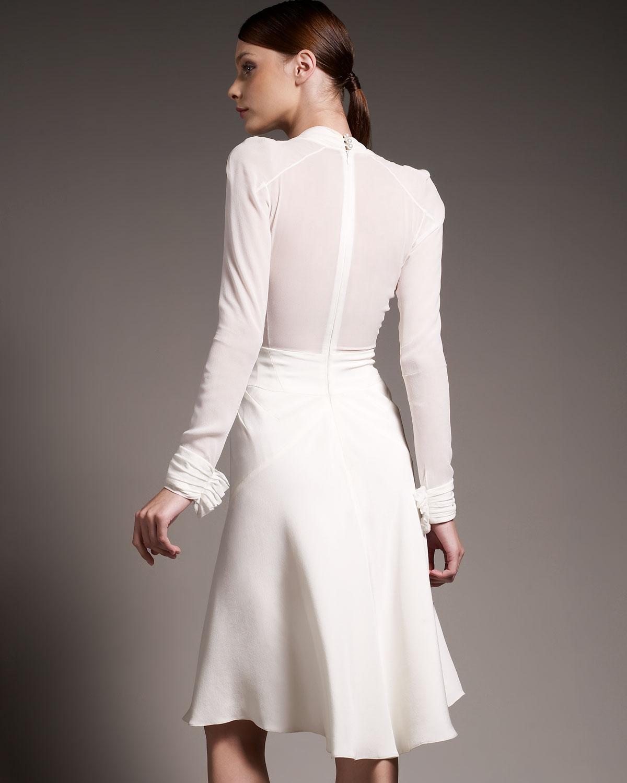 Zac Posen Crepe Amp Chiffon Long Sleeve Dress In White