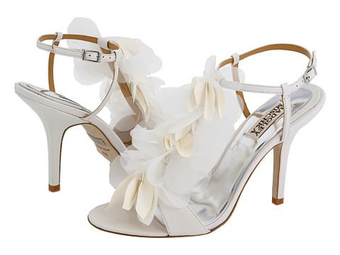 Badgley Mischka Randee High Heel Ruffle Flower Sandals In