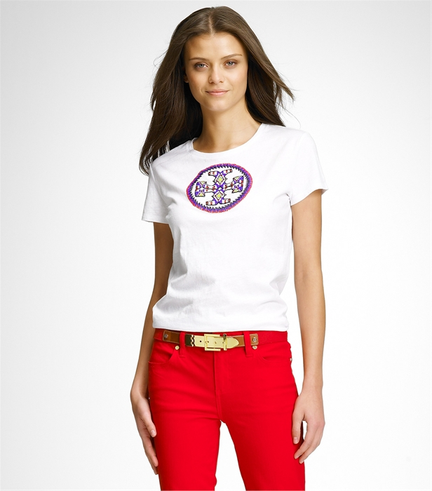 Lyst tory burch logo tee in white for Tory burch t shirt