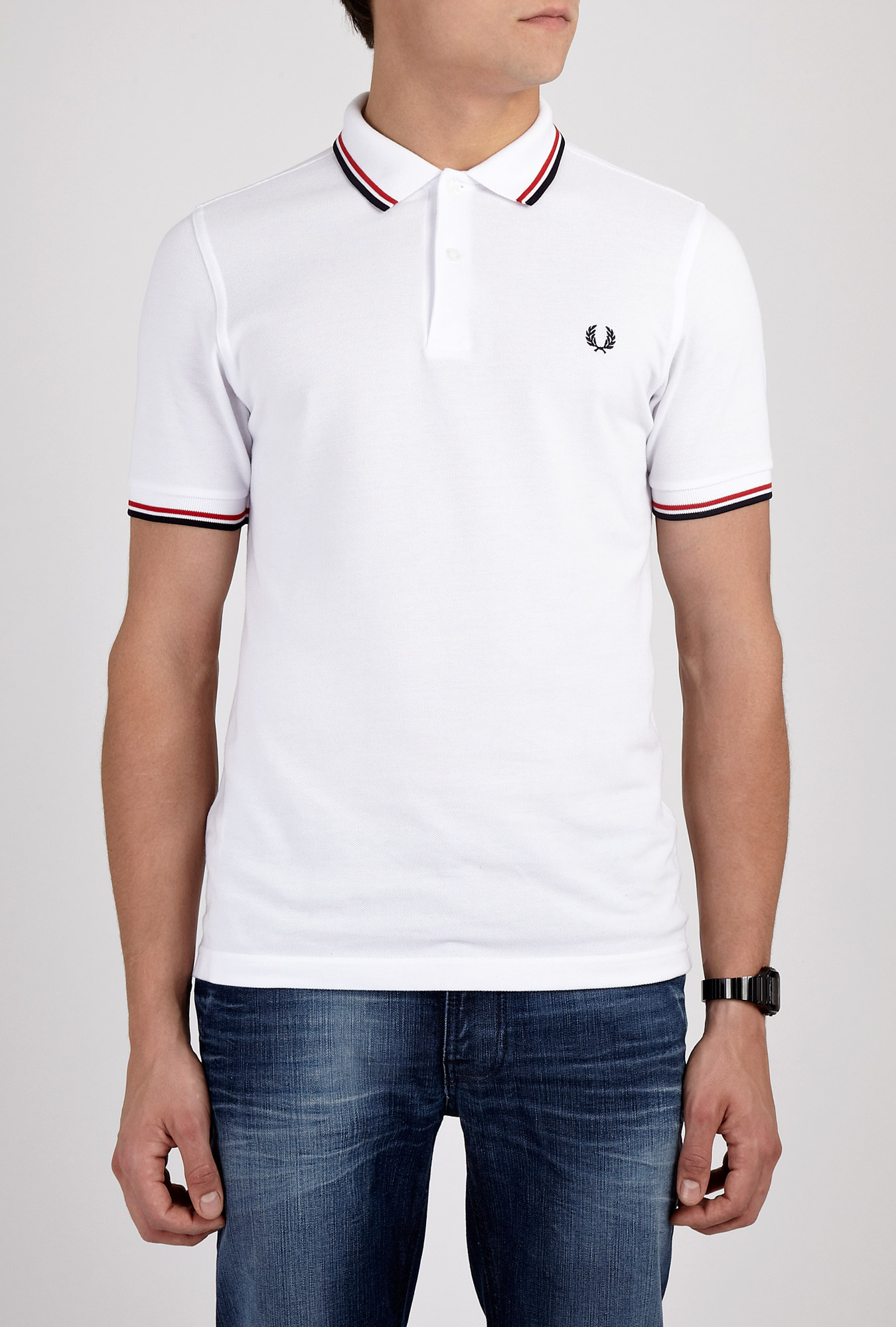 fred perry white twin tipped polo in white for men lyst. Black Bedroom Furniture Sets. Home Design Ideas