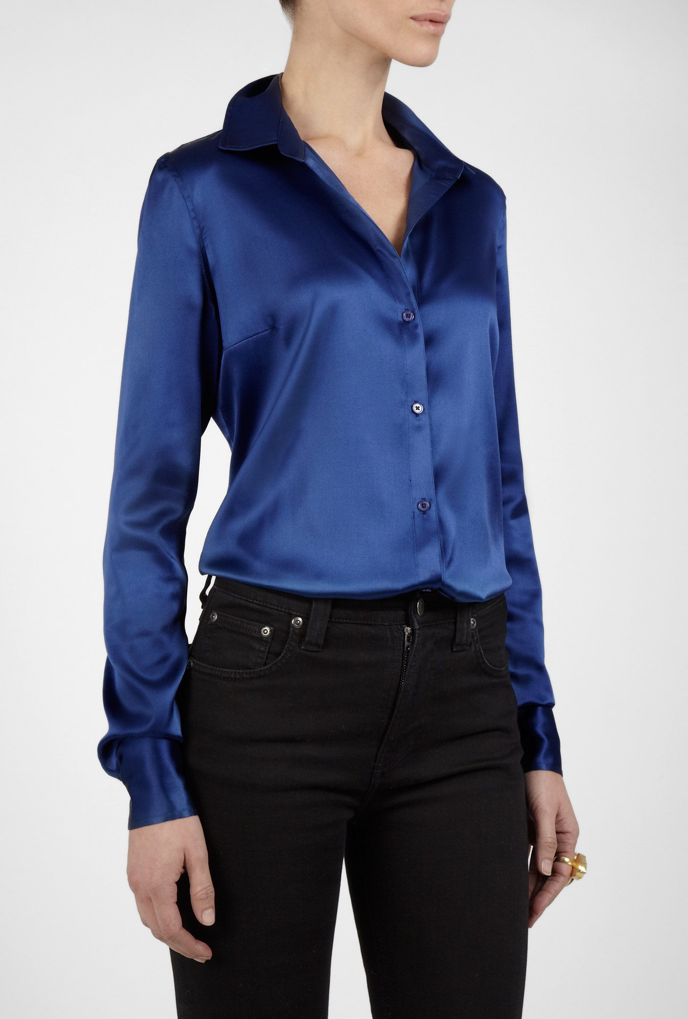 Beautiful Women39S Long Sleeve Satin Blouse  Silk Button Blouse
