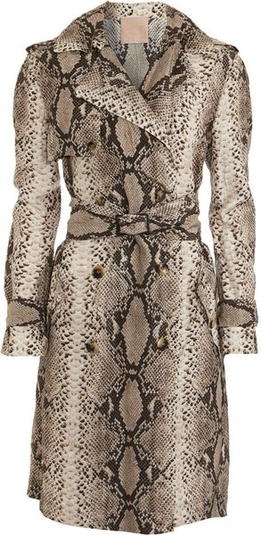 Lanvin python trench coat in animal multi