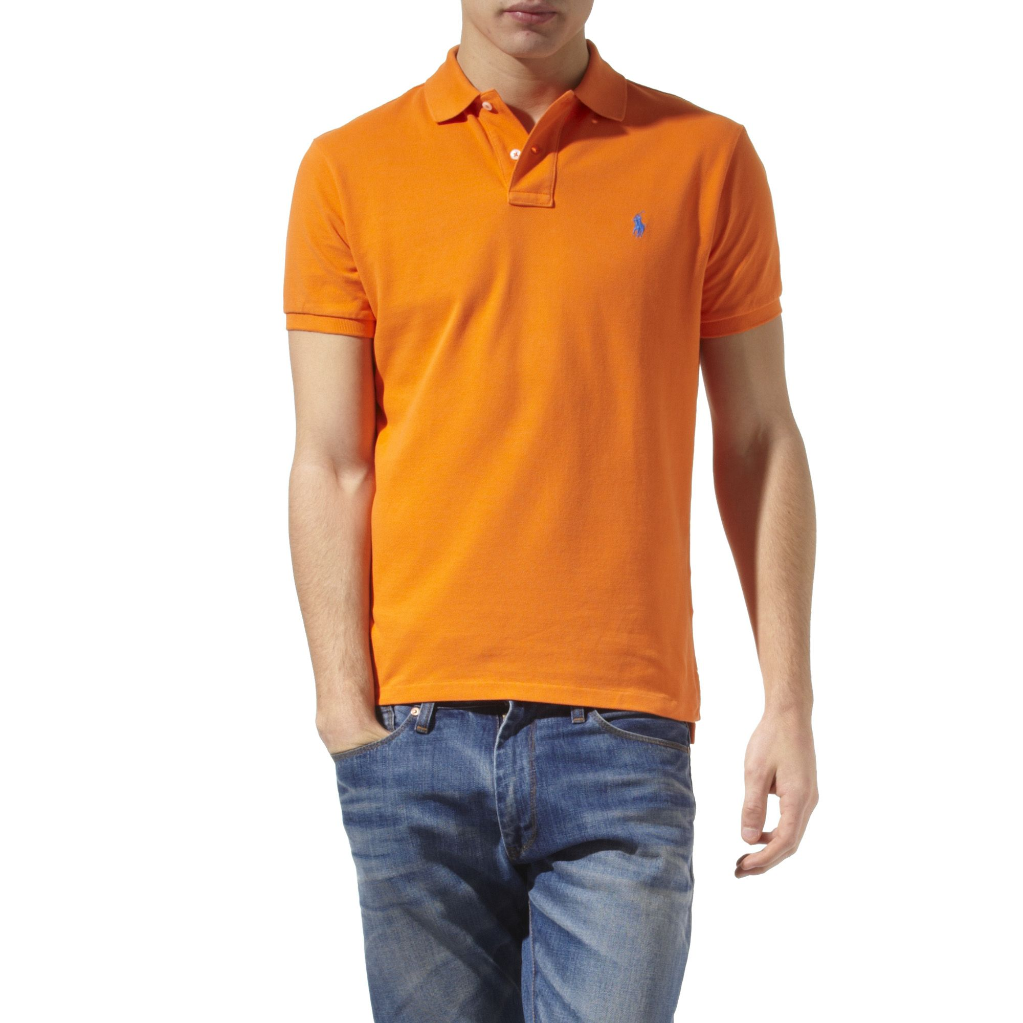 ralph lauren slim fit polo shirt in orange for men lyst. Black Bedroom Furniture Sets. Home Design Ideas