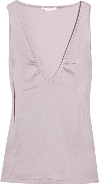 Vanessa Bruno V-neck Brushed-cotton Tank in Purple