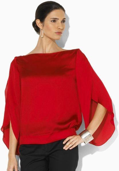 Ralph Lauren Black Label Gayle Silk Boatneck Blouse in Red