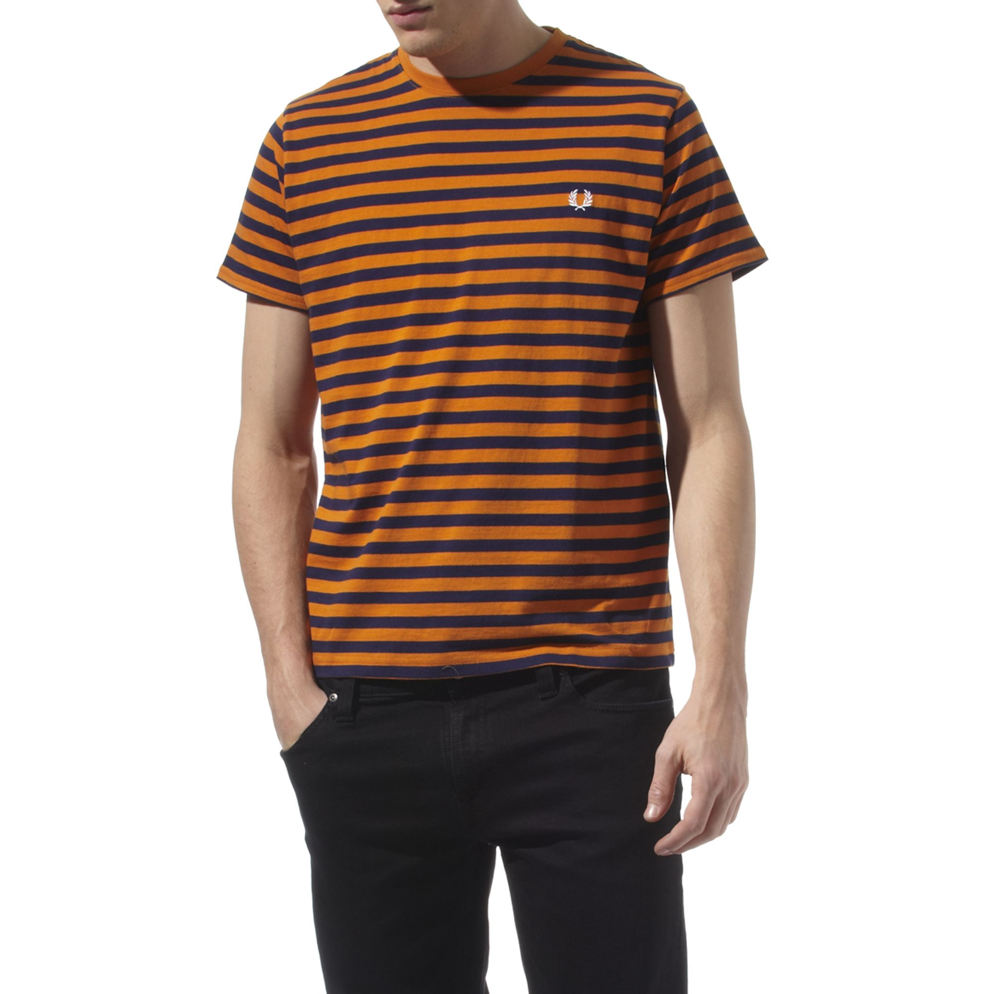fred perry breton striped t shirt in orange for men lyst. Black Bedroom Furniture Sets. Home Design Ideas