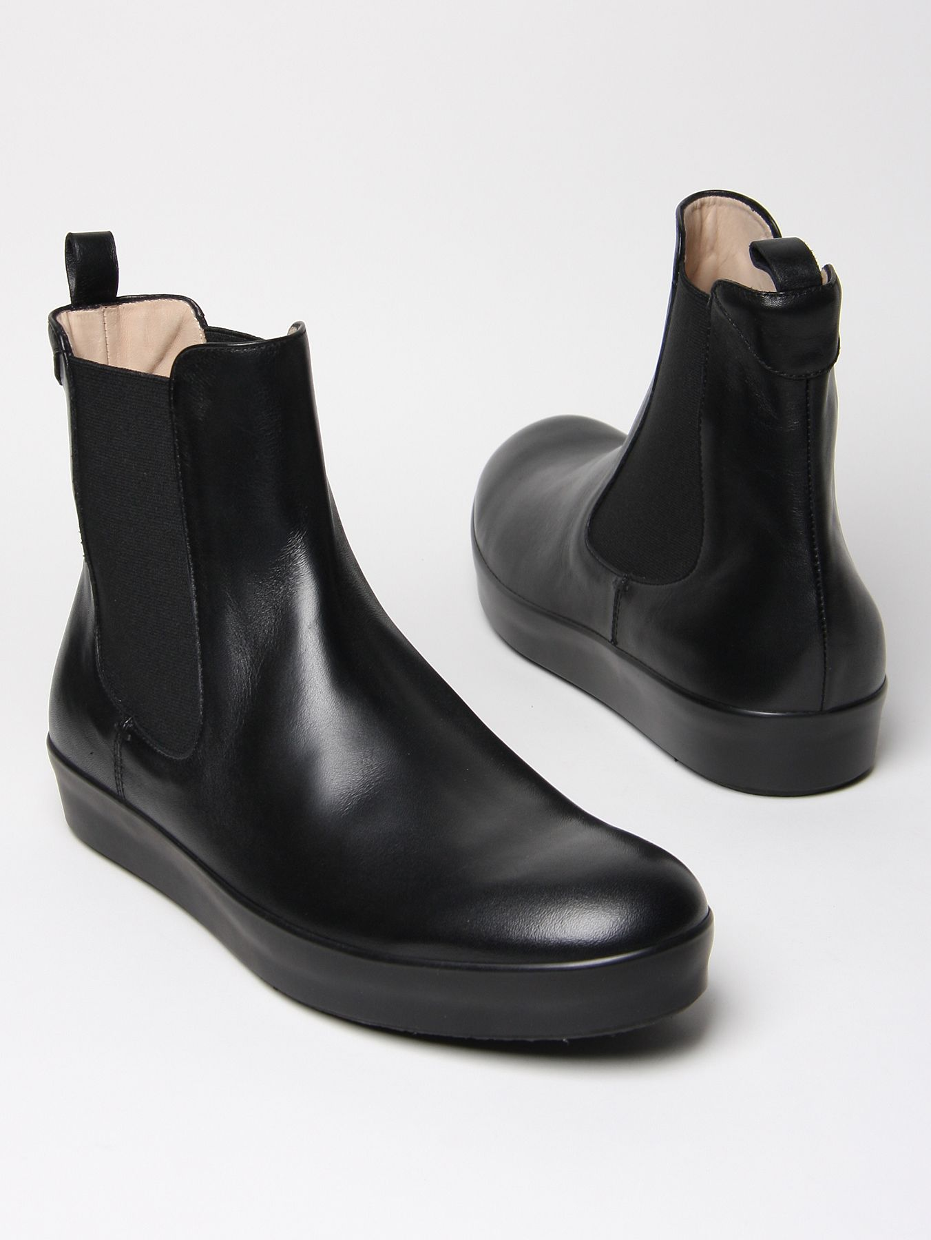 jil sander mens calf leather chelsea boot in black for