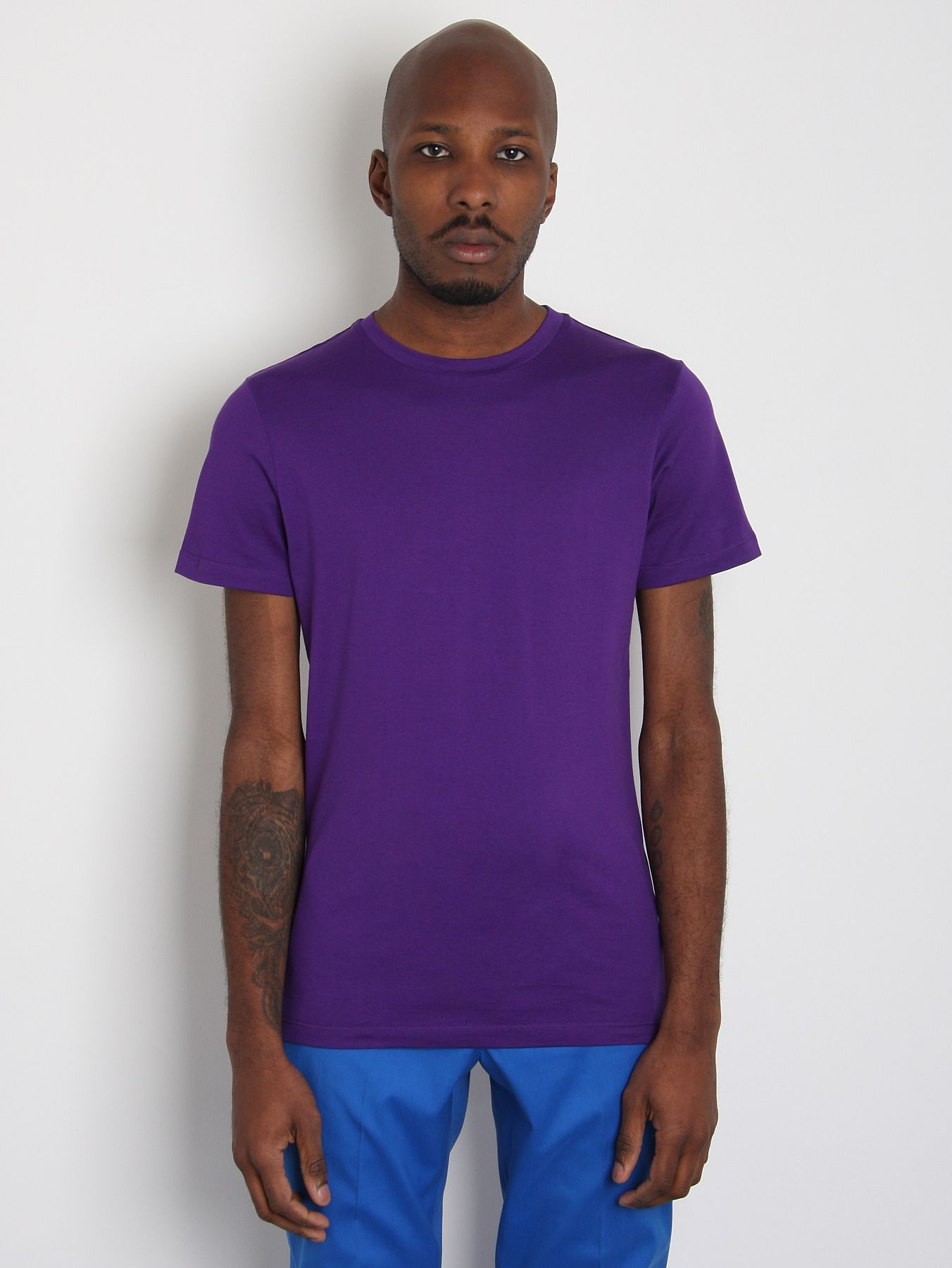 jil sander mens classic round neck t shirt in purple for. Black Bedroom Furniture Sets. Home Design Ideas