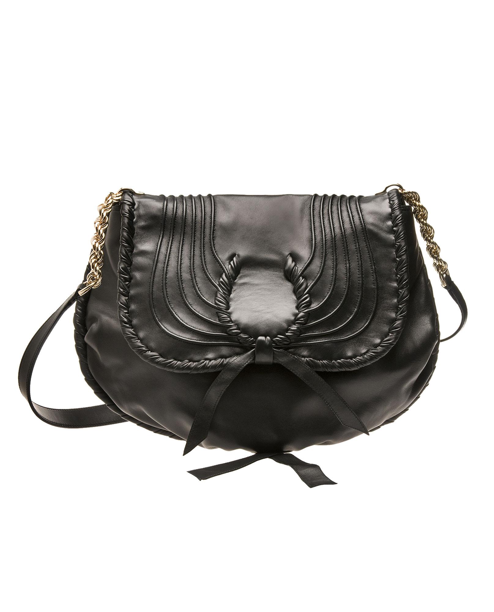 ec9614d685ae Nina Ricci Sac Rabat Leather Messenger Bag in Black