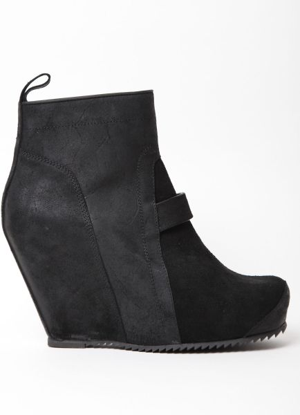 rick owens mens anthem suede covered heel ankle boot in