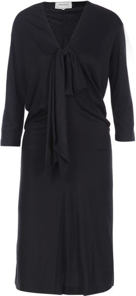 Saint Laurent Jersey Drape Dress in Blue (navy)
