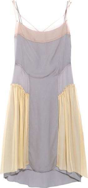 Alberta Ferretti Color-block Silk-chiffon Dress - Lyst