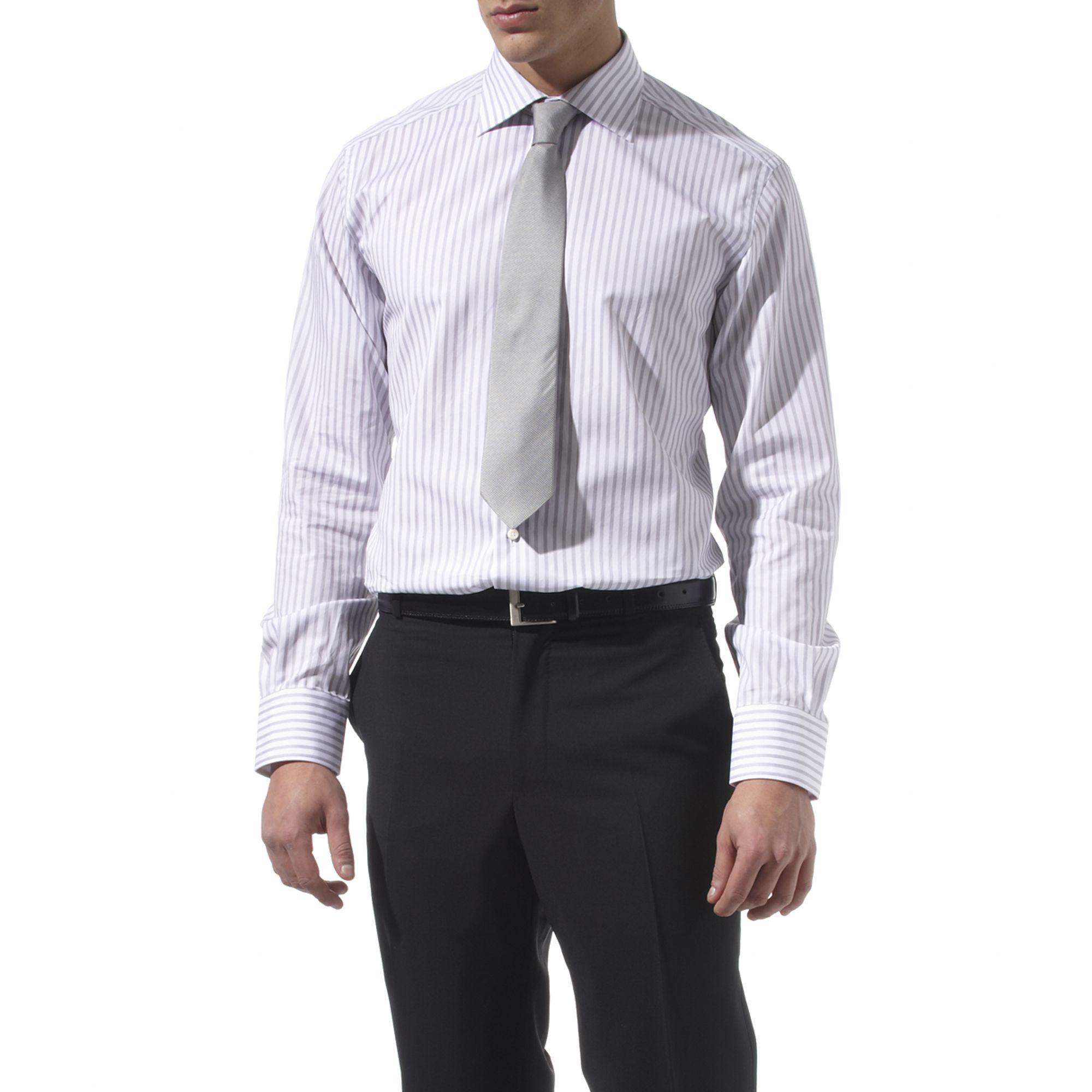 zegna bruno striped shirt in gray for men grey lyst